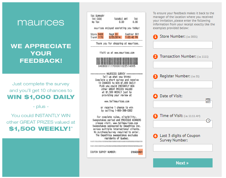 Tell Maurice Guest Experience Survey