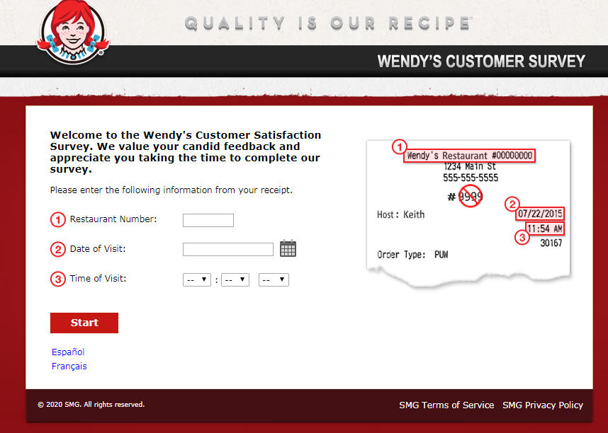 Talk To Wendy's  Guest Experience Survey