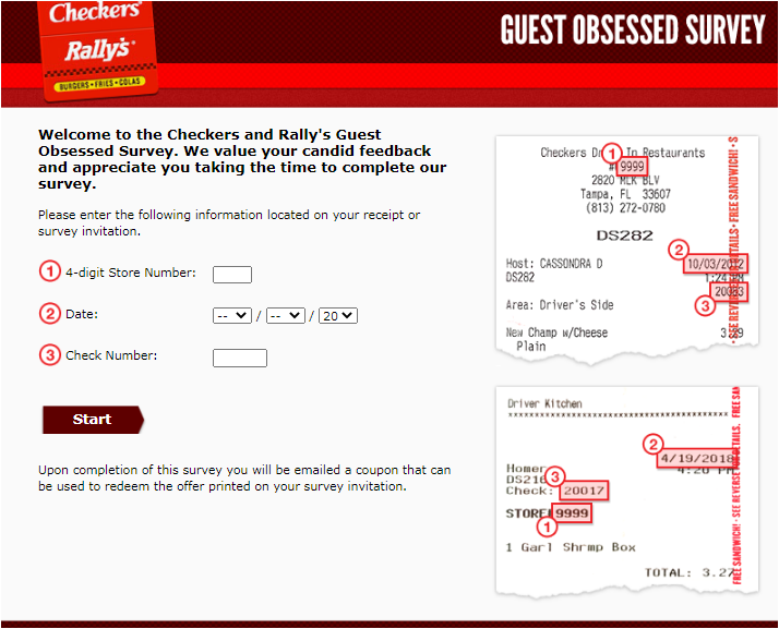 Checkers and Rally's Restaurant Feedback Survey