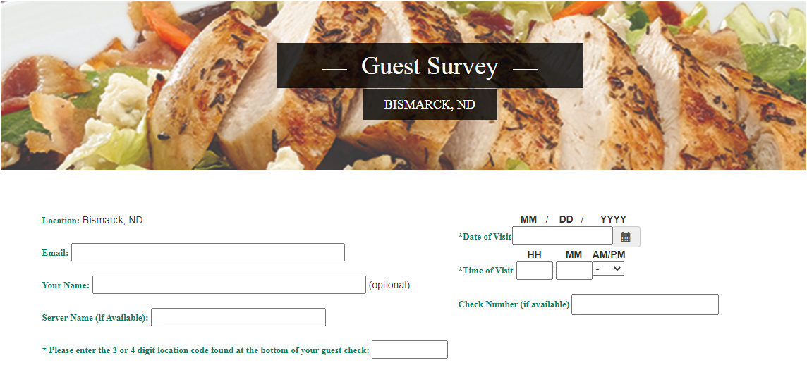 Ground Round Grill & Bar Guest Experience Survey