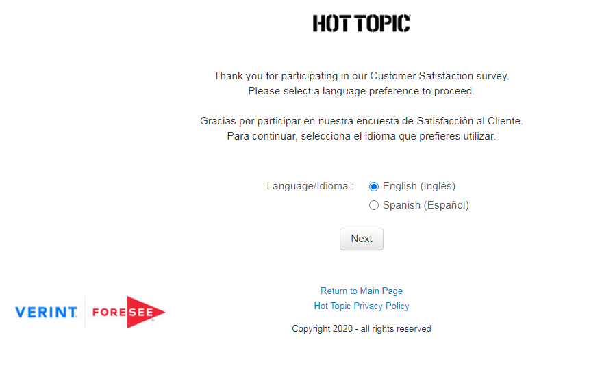Hot Topic Guest Satisfaction Survey