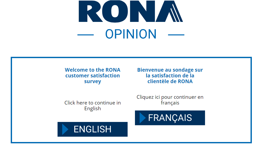 RONA Store Opinion Survey Homepage